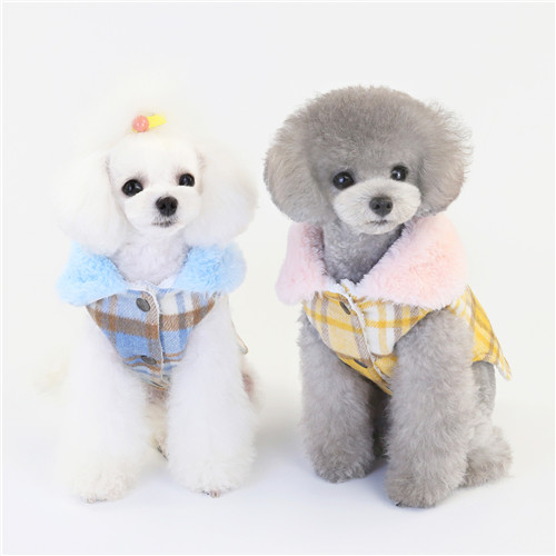 RA2048 Fake Wool Check Pattern Dog Clothing Pet Winter Coat